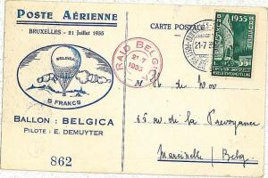 BALLON FLIGHT postcard: MULLER #190 - BELGIUM : Belgium to Poland 1935