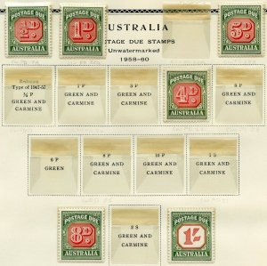 AUSTRALIA POSTAGE DUES LOT MINT HINGED ON PAGES--SCOTT VALUE OVER $640.00