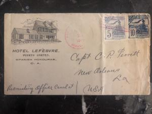 1899 Puerto Cortes Honduras Hotel Lefebvre Commercial Cover To New Orleans USA