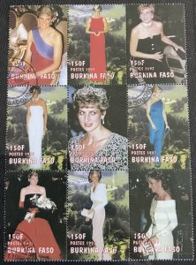 Burkina Faso Used 1090A Block of 9 Diana Princess Of Wales Has been folded