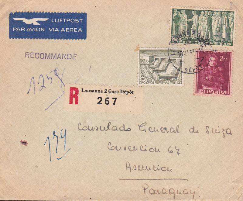 Switzerland 1953 10fr. Citizens Voting on Registered Airmail Cover to Paraguay.