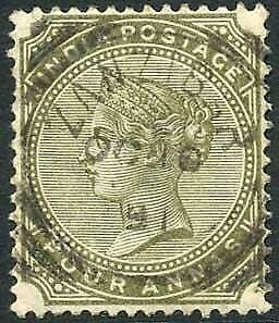 Zanzibar SGZ69 4a Olive-green Z5 Squared Circle dated 10th Oct 1891