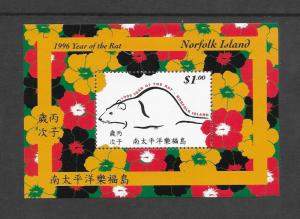 NORFOLK ISLAND - #601 YEAR OF THE RAT s/s  MNH