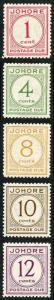 Johore SGD1/D5 1938 Post Due Set of 5 M/Mint (brown gum)