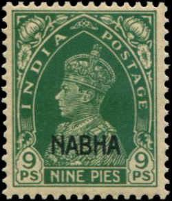 India - Nabha  SC# 89 SG# 97 George VI 9ps  MNH