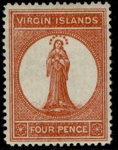BRITISH VIRGIN ISLANDS QV SG35, 4d chestnut, M MINT. Cat £35.