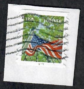 US #4768 Flag Used PNC Single plate #V1111 on paper