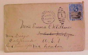 ST. HELENA COVER #72 cat.$130.00 TO USA 1913