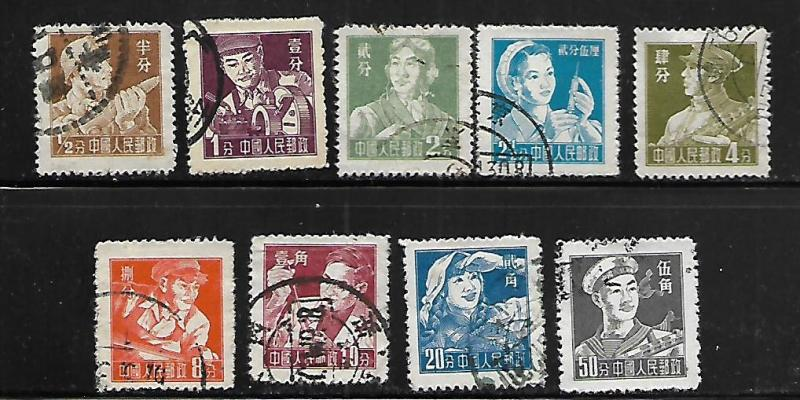 PEOPLE'S REPUBLIC OF CHINA, 273-281,USED, 1955-56 ISSUE