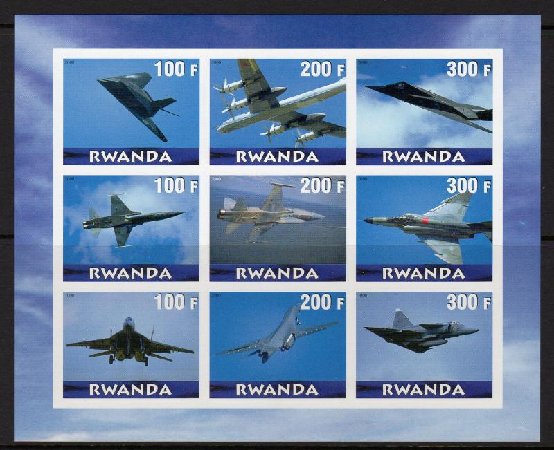 Rwanda 2000 Concorde/Aircrafts/Aviation Sheetlet (9) Imperforated MNH VF