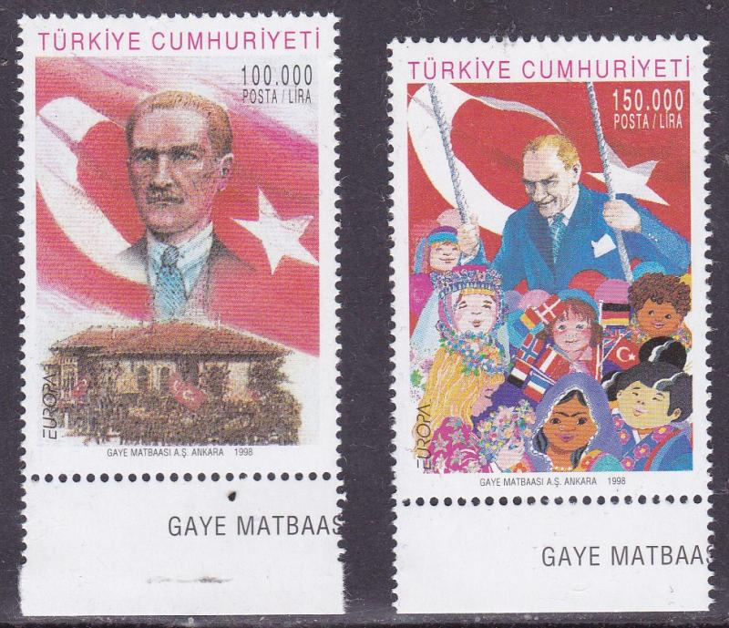 Turkey 1998 Europa National Festivals Kemal Ataturk National Flag Children VF/NH