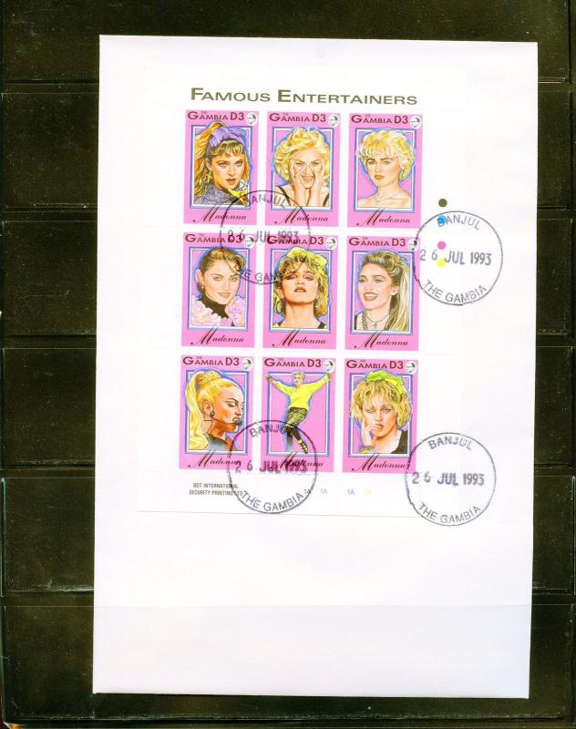 GAMBIA MADONNA 1993 SHEET OF NINE FIRST DAY COVER