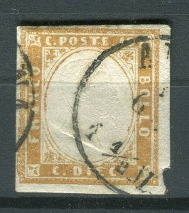 ITALY SARDINIA; 1855 early classic Imperf issue fine used Shade of 10c. value