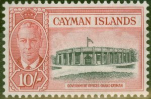 Cayman Islands 1950 10s Black & Scarlet SG147 V.F Lightly Mtd Mint