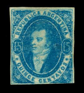 ARGENTINA 1867  RIVADAVIA  15c blue  Scott # 16  mint MH  FVF and Rare
