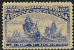 US Sc#233 1893 4c Columbian F-VF Centered OG Mint Hinged Heavily Hinged