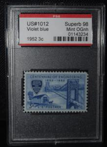 US #1012 VIOLET BLUE 1952 3¢ SUPERB 98 MINT OG NH SLAB SLB283