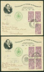 Brazil TWO COMMEMORATIVE COVERS, CENTENARY OF PETROPOLIS..F. (52)