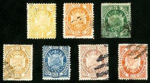 Bolivia Stamps # 40-6 VF Used Scott Value $74.00