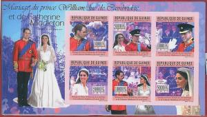 FRENCH GUINEA - ERROR, 2011 IMPERF SHEET: Prince Diana, Royal family, Kate