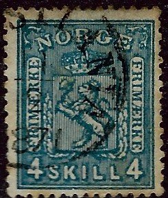 Norway #14 Used VF hr slight perf stains...Chance to buy a Bargain!