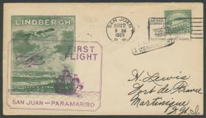 #568 ON FIRST FLIGHT COVER SAN JUAN TO MARTINIQUE BS1374
