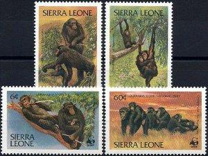 1983 Sierra Leone WWF, Naturschutz, Schimpanse, MiNr. 713-716 ** KAT 11€