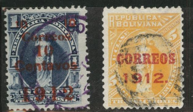 Bolivia Scott 100-101 Used 1912 overprints