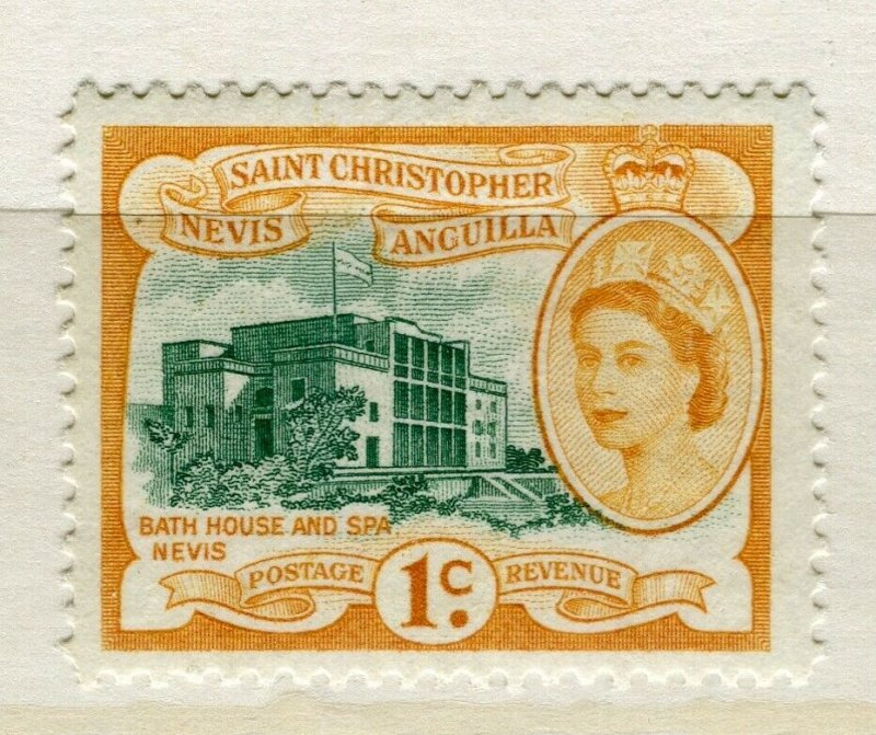 NEVIS ST. CHRISTOPHER; 1954 early QEII pictorial issue MINT MNH 1c. value