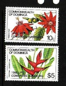 Dominica-Sc#852-3-unused NH set-Flowers-Flora-1984-