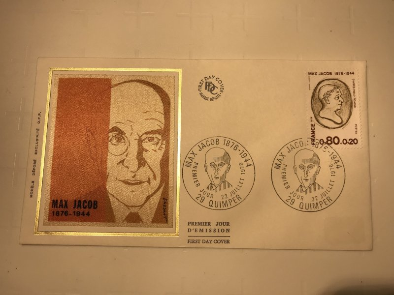 France Colorano silk FDC, 22 juillet 1976, Max Jacob 1876-1944 - 29 Quimper