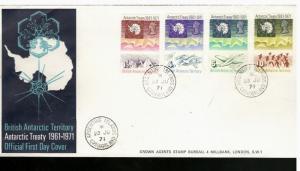 1971 British Antarctic Territory #39-42 FDC Argentine Islands, Grahamland CDS