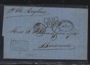 URUGUAY   (PP2604B)  1860 STAMPLESS GB 1F 60C MONTEVIDEO TO FRANCE
