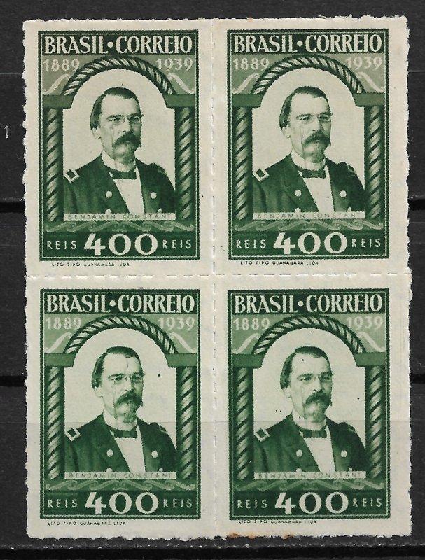 1939 Brazil Sc484 Benjamin Constant block of 4 NG