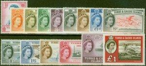 Turks & Caicos Is 1957 set of 15 SG237-253 V.F Very Lightly Mtd Mint