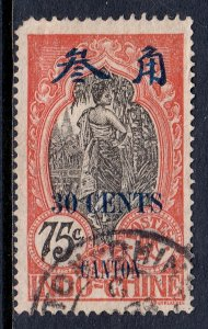 France (Offices in Canton) - Scott #77 - Used - Rnd. cnr. UL - SCV $2.10