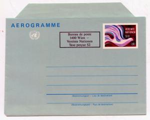 UN Vienna Scott UC2 Folded Mint Air Letter Sheet w/Surcharge