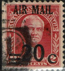 CANAL ZONE #C5 1929 20c AIRMAIL SURCHARGE ON 2c REGULAR ISSUE USED--VF