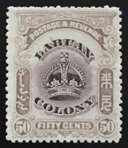 Malaya 1902-03 Labuan Crown 50c MNG Line through B SG#127b CV£200 MA1595