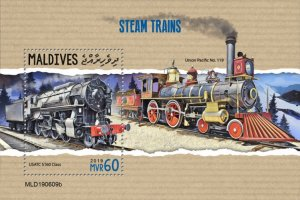 MALDIVES - 2019 - Steam Trains - Perf Souv Sheet - MNH