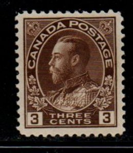 Canada Sc 108 1918 3c brown G V Admiral issue stamp mint