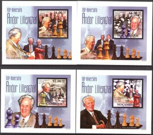 {145} Mozambique 2011 Chess A. Lilienthal 4 S/S Deluxe MNH**