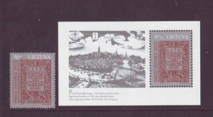 Lithuania Sc 565-6 1997 1st book stamp & sheet mint NH