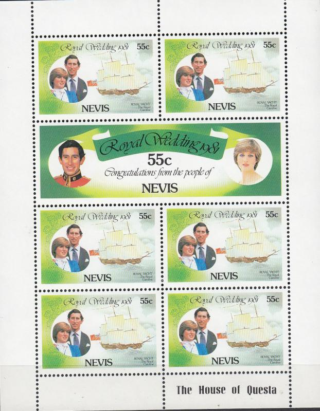 Nevis - 1981 Lady Diana stamp sheet lot - MNH (742)