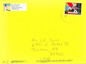 Kuwait 150f Liberation Day 2002 Salmiyah Post Airmail to Tucson, Ariz.  EUROP...