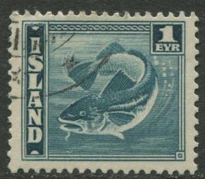 Iceland - Scott 217a - General Issue -1939 - VFU - Single 1e Stamp