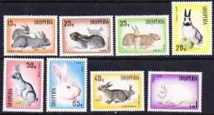 Albania #1074-81 MH set rabbits