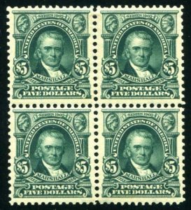 HERRICKSTAMP UNITED STATES Sc.# 313 $5.00 Marshall Block of 4, OG, Hinged