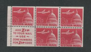 1962 US Air Mail Stamp #C64b Mint F/VF Booklet Pane Slogan 2 Use Zone Numbers