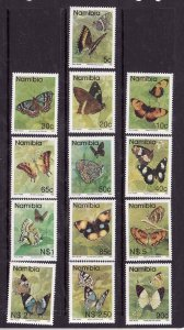 Namibia-Sc#742-54 ex 745A- id6-unused NH set-Insects-Butterflies-1993-